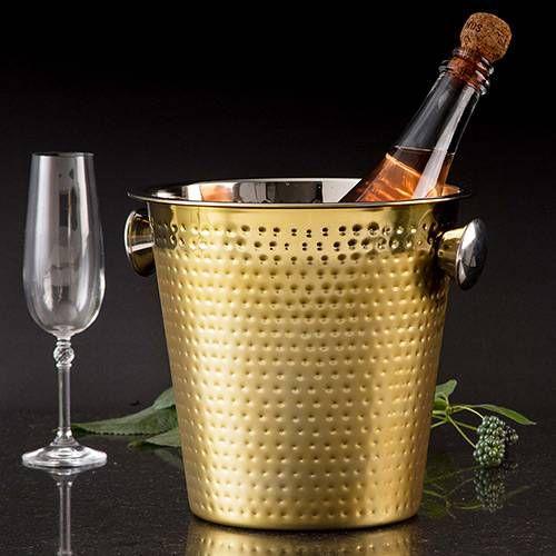 Balde para Champagne/Vinho 4,5L 22cm Gold em Aço Inox
