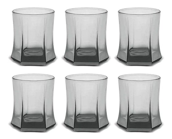 Kit 6 Copos Vidro Fumê Whisky Roma Rocks 295ml - Cisper