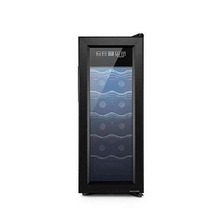 Adega Climatizada com 65W Capacidade para 12 garrafas Display Digital e Luz de LED Interna - Preto - Multilaser
