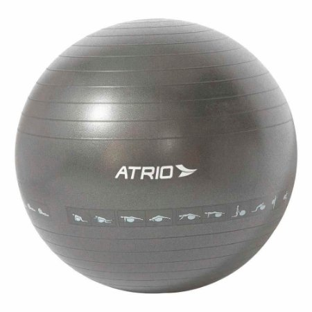 Bola de Ginástica Premium 65CM Diagrama de Exercício Material PVC - Cinza