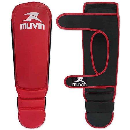 Protetor de Canela e Pé – PCP-100 P/M - Vermelho/Preto - Muvin