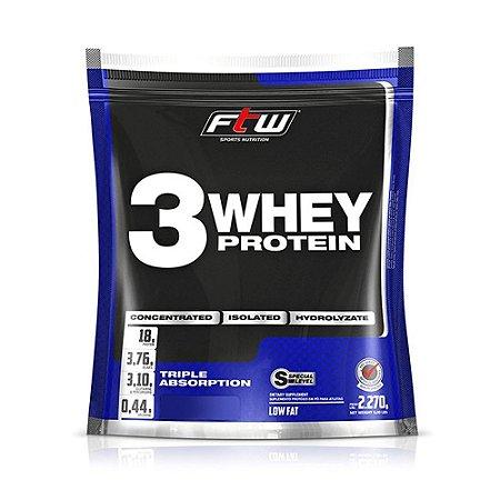 Whey 3 Protein Fitoway FTW - Sabor Morango - 2270gr