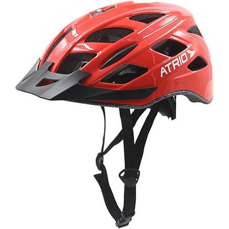 Capacete para Ciclismo com LED Viseira Removível e 19 Entradas de Ventilação Vermelho Atrio Tam. G - BI108