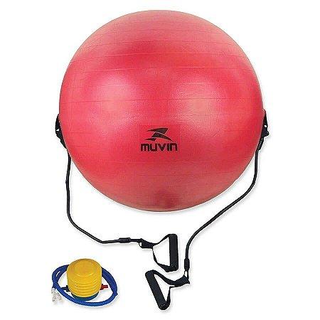 Bola de Pilates com Extensor 65cm – BLG-400 - Vermelho - M