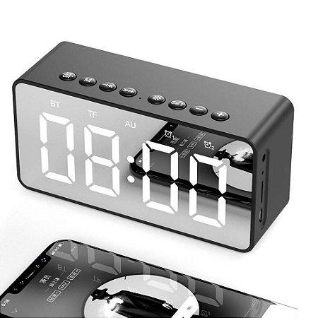 Rádio Relógio Despertador Digital Caixa de Som Bluetooth