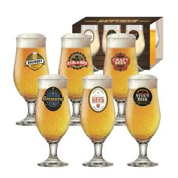 CONJUNTO DE TACA HAPPY HOUR BEER RUVOLO - 6 UNIDADES 320ml CADA