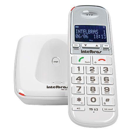 TELEFONE SEM FIO COM  IDENTIFICADOR TS 63 V 1.9GHZ BRANCO