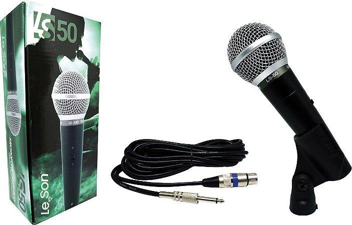 MICROFONE COM FIO PROFISSIONAL LS50 COM CABO DE 5 METROS