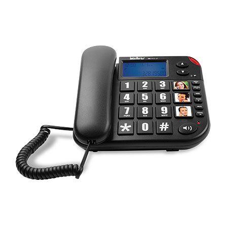 TELEFONE COM FIO TOK FÁCIL ID PRETO - TECLAS GRANDES