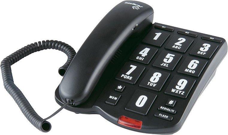 TELEFONE COM FIO TOK FÁCIL  PRETO - TECLAS GRANDES