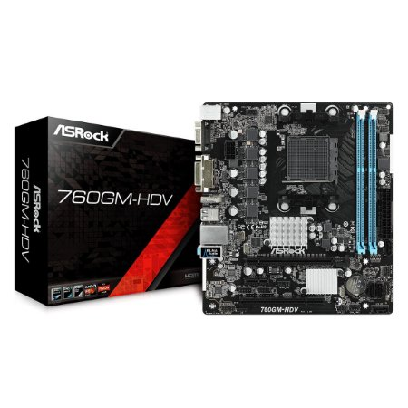 PLACA MÃE MICRO ATX ASROCK 760GM-HDV - AMD AM3/AM3+ / DDR3