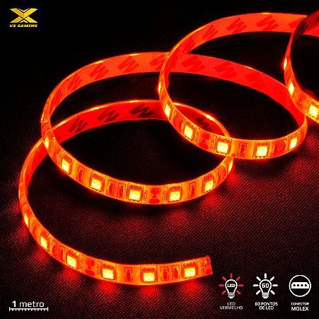 FITA DE LED VX GAMING VERMELHO COM CONEXÃO MOLEX 60 PONTOS DE LED