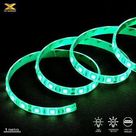FITA DE LED VX GAMING VERDE COM CONEXÃO MOLEX 60 PONTOS DE LED