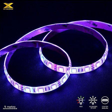 FITA DE LED VX GAMING RGB COM CONTROLADOR CONEXÃO MOLEX 60 LED