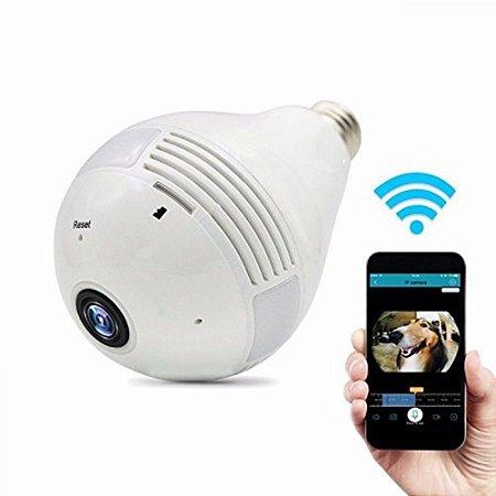 Lâmpada Espiã Câmera Ip Led Wifi HD Panorâmica Vr 360º Celular