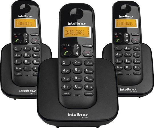 TELEFONE SEM FIO COM IDENTIFICADOR DE CHAMADAS + 2 RAMAIS TS