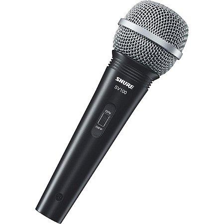 MICROFONE PROFISSIONAL VOCAL COM FIO SV100 COM CABO 4,5 METR