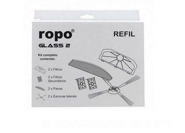 Kit Refil Ropo Glass 2 com escovas filtros e panos