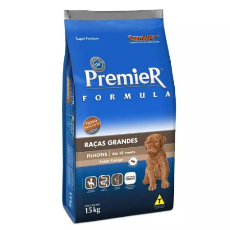 Ração Premier Fórmula para Cães Filhotes de Raças Grandes Sabor Frango - 15kg