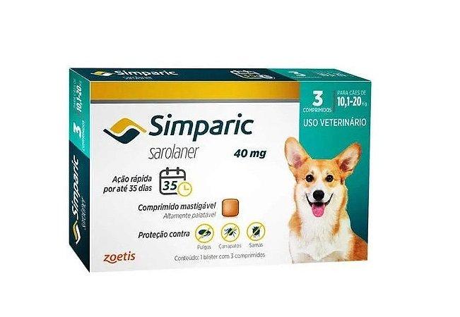 Simparic 40 Mg. Antipulgas 10 A 20kg C.3 Comprimidos
