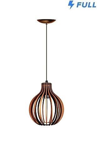 Lustre Luminária Redondo Pendente De Madeira De E-27 21x18cm