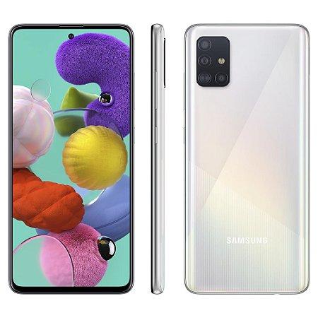 """Smartphone Samsung Galaxy A51 Branco 128GB, Tela Infinita de 6.5"""", Câmera Traseira Quádrupla e Processador Octa-Core"""