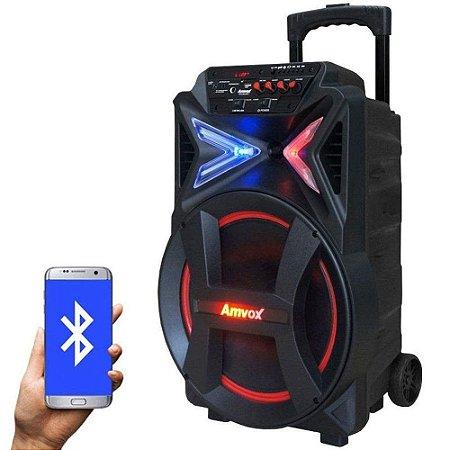 Caixa Som Amplificada Portátil Bluetooth 290W Rms Mp3 Fm Usb Sd Aux Led Bateria - Amvox