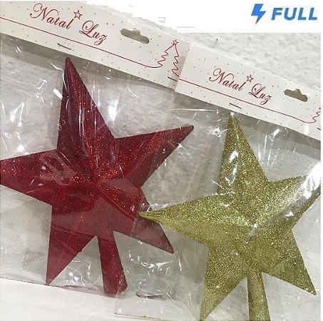 Enfeite de Natal Ponteira Estrela 25cm - Vermelho ou Dourado
