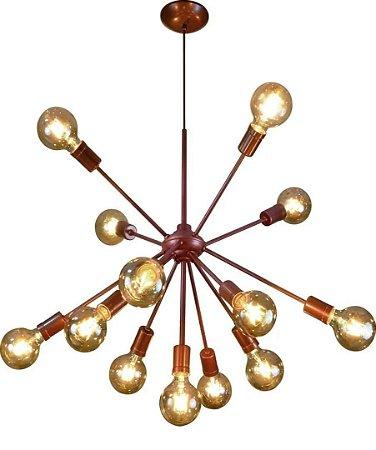 Lustre Vintage Cor Cobre 13 Lampadas Super Luxo Moderno