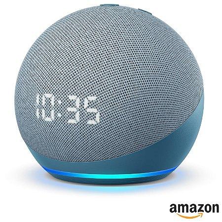 Assistente Pessoal Echo Dot (4ª geração) Smart Speaker Amazon com Relógio e Alexa - Azul