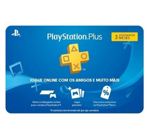 Gift Card Digital Sony Playstation Plus 03 Meses