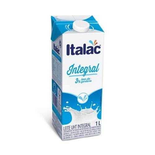 Leite Longa Vida Integral com tampa Italac - 1 litro