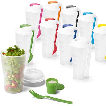 Copo Salada de 850ml com Garfo e Suporte para Molho Personalizado