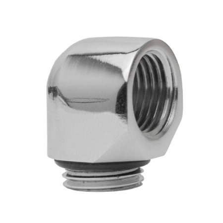 Water Cooler Mini Fitting Curva 90º Graus Bykski Prata G1/4