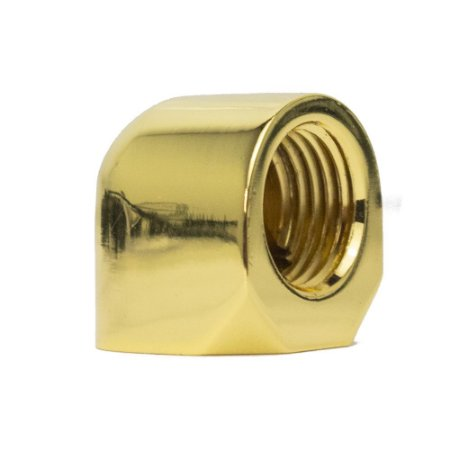 Water Cooler Mini Fitting Curva 90º Graus Bykski Dourado G1/4