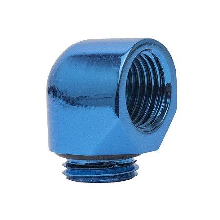 Water Cooler Mini Fitting Curva 90º Graus Bykski Azul G1/4