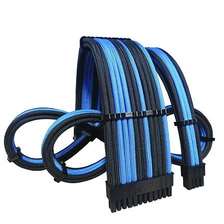 Kit Cabos Sleeved Exclusivos Felion Custom - Azul Celeste Intercalado