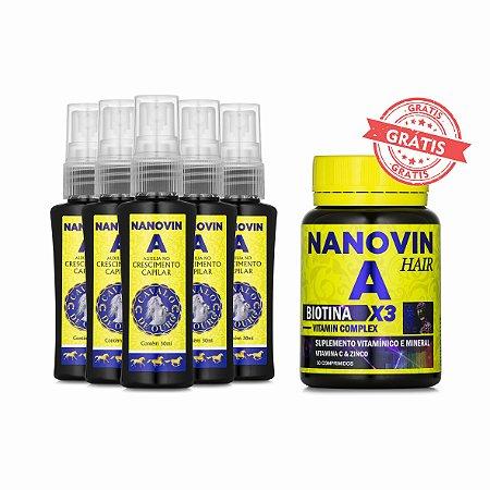 COMPRE 5 AMPOLAS NANOVIN A HAIR E GANHE 1 COMPLEX VITAMIN 30 CÁPSULAS