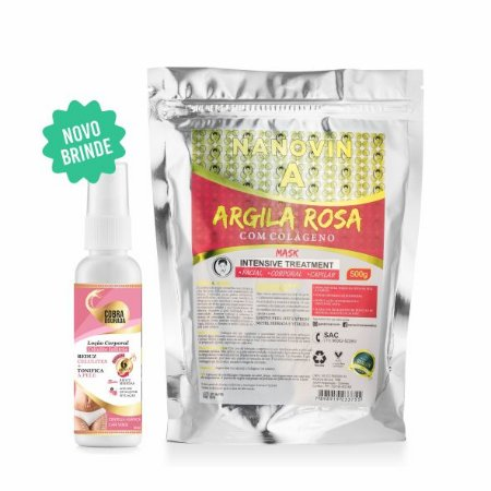 ARGILA ROSA COM COLÁGENO 500G + COBRA DOURADA 60ML - ANTICELULITE