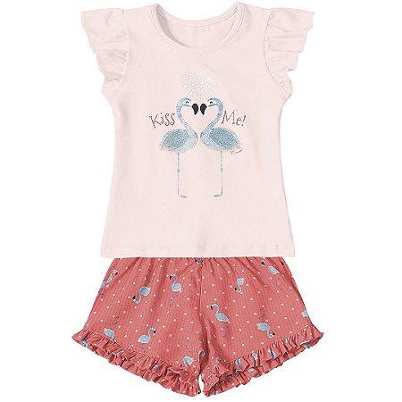 32b7f7c4d Conjunto Marisol Flamingo Coral - Pin Pin Baby - Calçados e Roupas ...