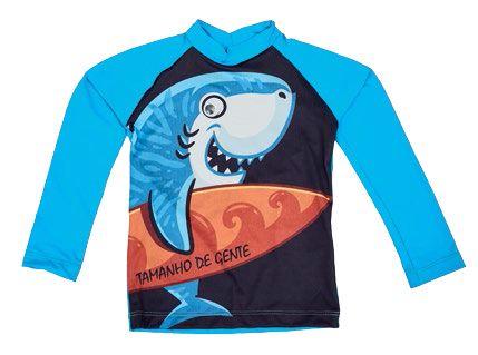 Camiseta Proteção Solar Tamanho de Gente Tubarão - Pin Pin Baby ... a7606f86d5e