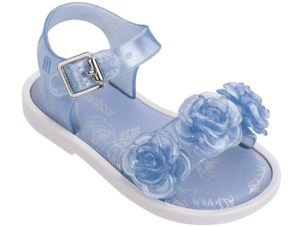 ebba2a0472 Sandália Mini Melissa Mar Sandal III Azul Branca - Compre na Pin Pin ...