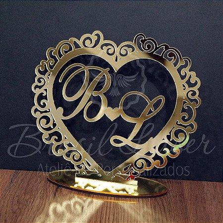 Topo de Bolo Brasão (Personalizado com Iniciais que o Cliente Desejar) - TBB 00107A