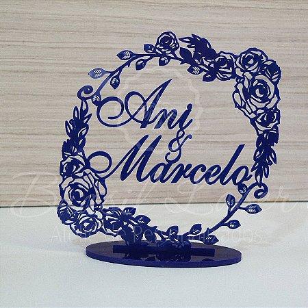 Topo de Bolo Brasão Floral (Personalizado com Nomes que o Cliente Desejar) - TBB 00145A