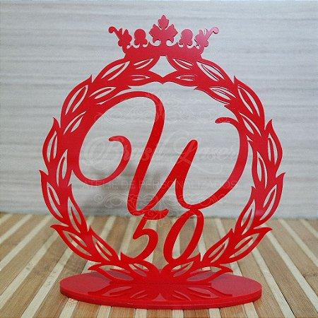 Topo de Bolo Brasão com Coroa (Personalizado com Inicial e Idade que o Cliente Desejar) - TBB 00162A