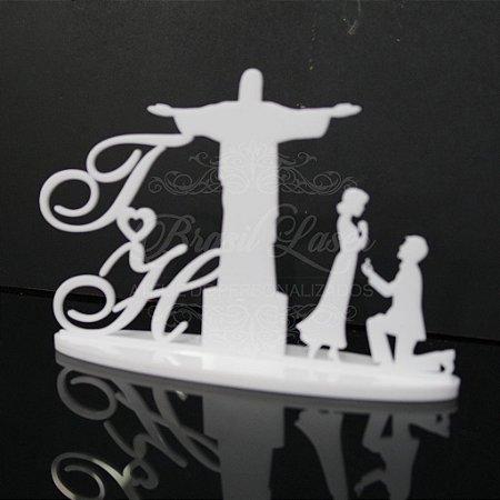Topo de Bolo Casal Cristo Redentor (Personalizado com Iniciais que o Cliente Desejar) - TBC 00531A