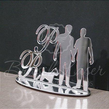 Topo de Bolo Casal Homoafetivo Gay LGBT (Personalizado com Iniciais que o Cliente Desejar) - TBC 00549A
