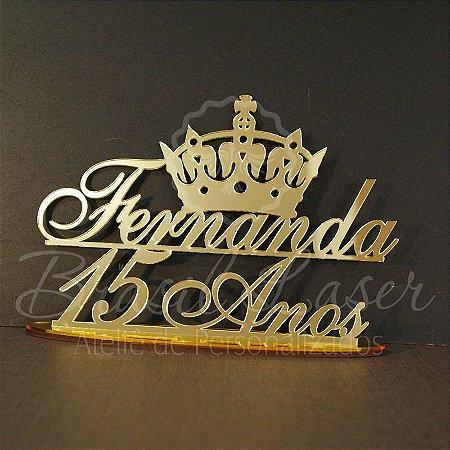 Topo de Bolo com Coroa (Personalizado com Nome e Idade que o Cliente Desejar) - TBV 01024A