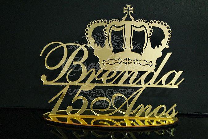 Topo de Bolo com Coroa (Personalizado com Nome e Idade que o Cliente Desejar) - TBV 01033A