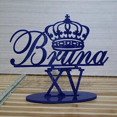 Topo de Bolo com Coroa (Personalizado com Nome e Idade que o Cliente Desejar) - TBV 01034A
